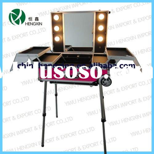 Professional aluminum light makeup case trolley cosmetic case with mirror