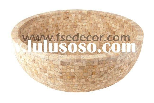 Round Mosaic Outdoor Vanity Top Natural Stone Sink