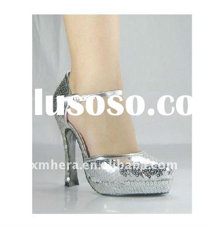 Sequin Shining Evening Dress Heels/ Crystal Chunky Ladies Shoes