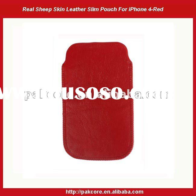 Sheep Skin Leather Slim Pouch For iPhone 4-Red