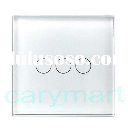 Touch Sensitive Wall Light Switch /1 2 3 Gang one Way/ Crystal Glass Panel + LED Indicator