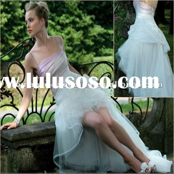 VA0007 Sparkly Falbala Front Short And Long Back Wedding Dress Gown