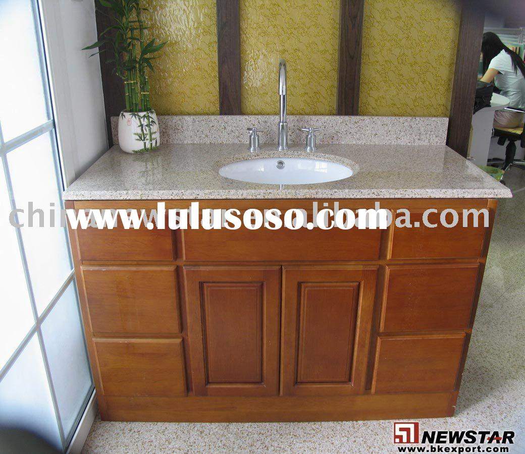 Vanity top with wooden cabinet with sink