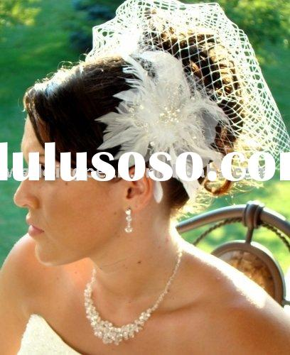WEDDING FEATHER FASCINATORS WITH CAGE VEIL WDF001