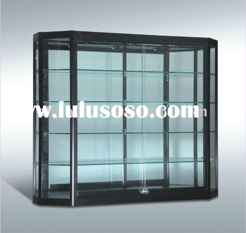 Wall Mounted Display Case, aluminum profiles, tempered glass, melamine faced board, halogen lights i