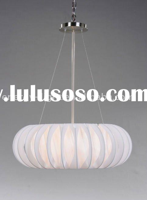White modern chandelier,White color Cloth shade and steel ball pendant light/Lamp With UL certificat