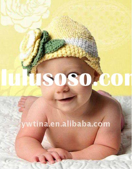 Yellow 100% Acrylic Handmade Crochet Baby Hat/Knitted Hat/Crochet Kufi Hat w Flowers