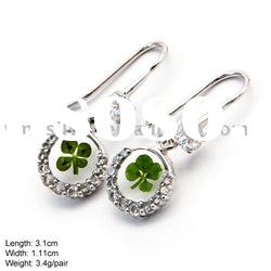 [FFQ-0925] 925 Silver Earring with Four-leaf Clover, Four-leaf Clover Jewelry