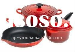 cast iron enamel cooking pots and pans