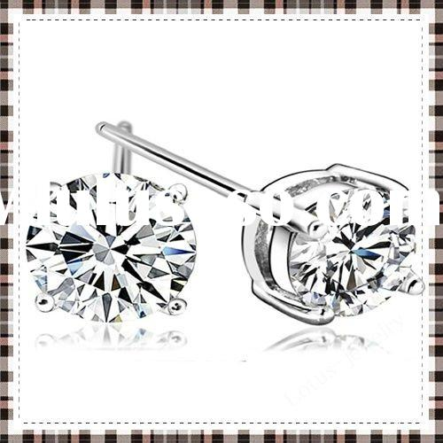 fashion 925 silver earrings made of 100% solid genuine 925 sterling silver stud earrings cubic zirco