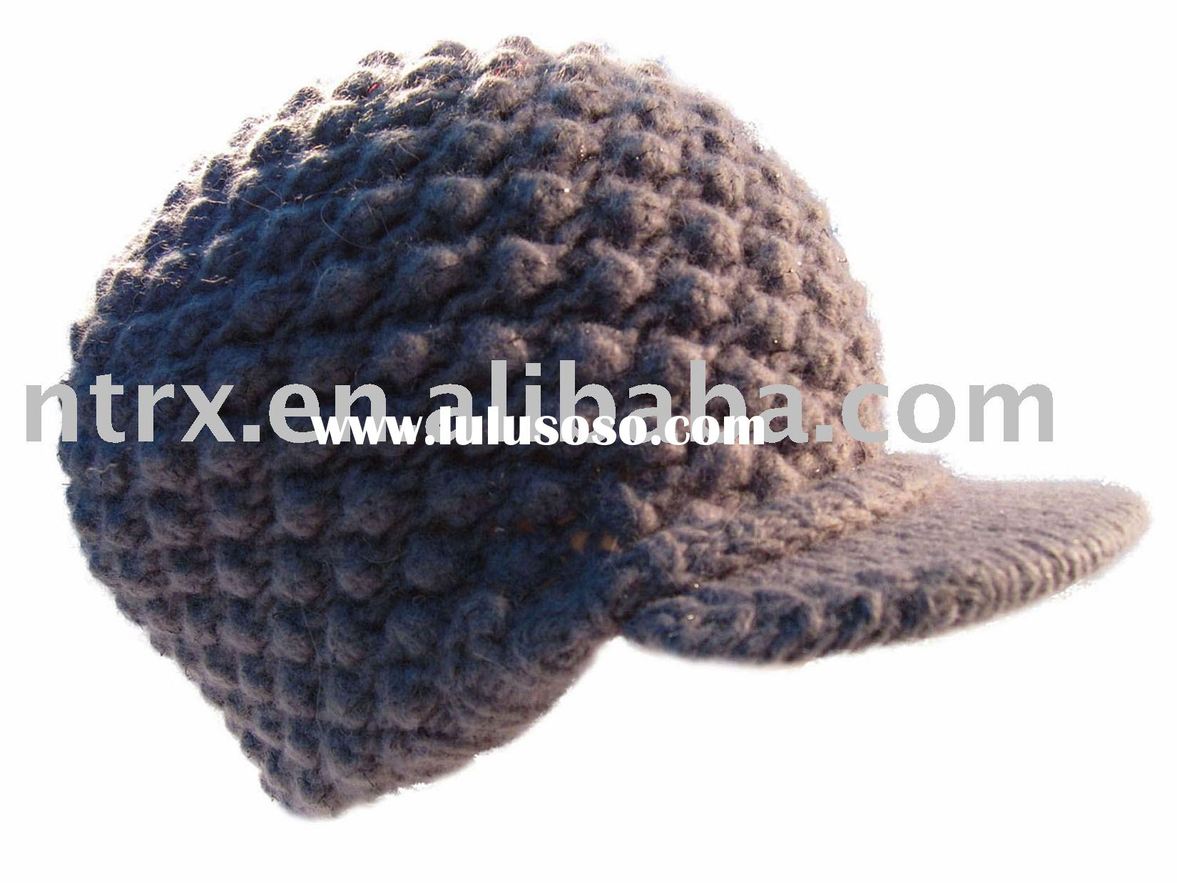 fashion checked knitted hat with beak