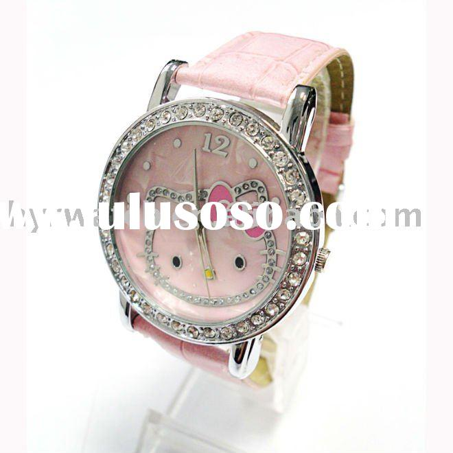 fashion diamond watch lady/alloy case with leather band