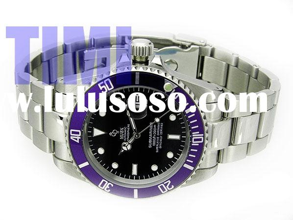 fashion watch Stainless Steel Submarine 1000FT 300M Magnifier Blue Rim Watch Lative Automatic Watch