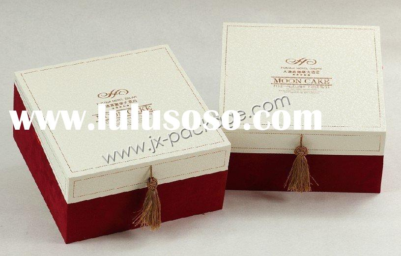 flocking base moon cake gift packaging box with special paper cover and tassel decoration KXMB012