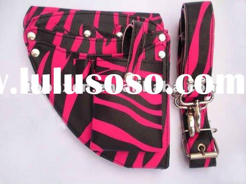 professional Hairdressing hair Scissors shears pouch wallet Holster Pink Zebra