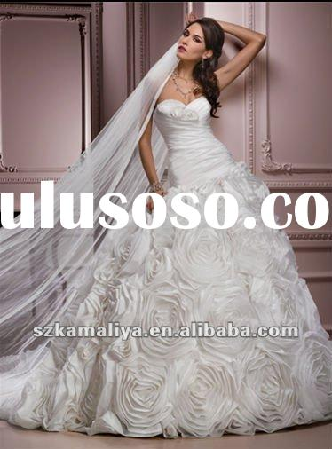 sales promotion beautiful princess designer wedding dresses with handmade flower 2012