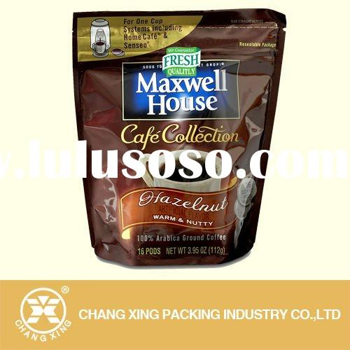 stand up packaging, foil coffee bag with valve