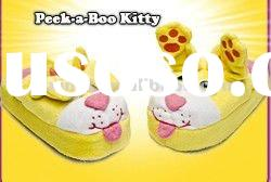 stuffed and plush lovely soft animal yellow indoor slippers toys, plush soft animal slippers toys an