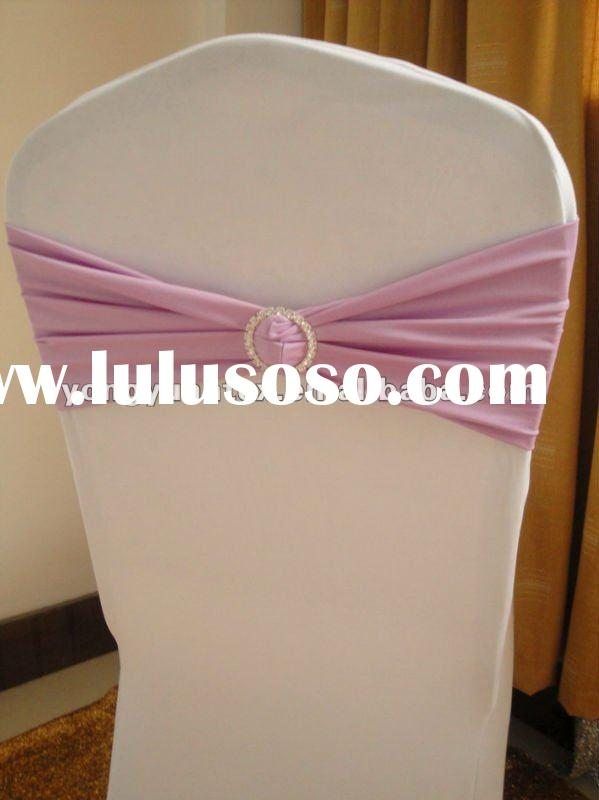 wedding light purple spandex chair band with diamond buckle/spandex chair cover sash/lycra chair bow