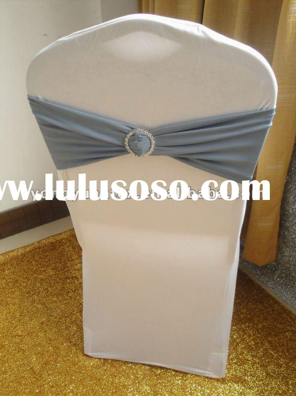 wedding silver spandex chair band with diamond buckle/spandex chair cover sash/lycra chair bow