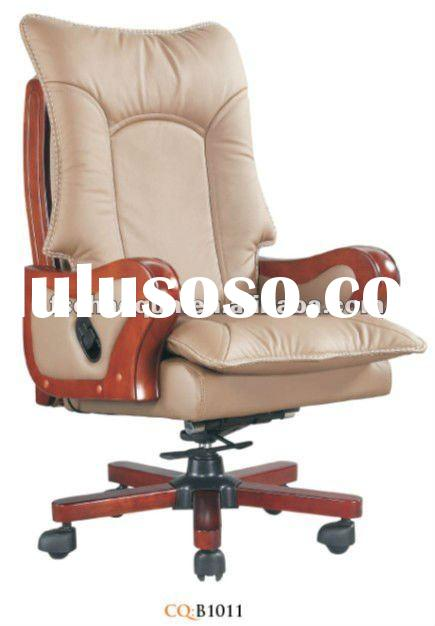 white leather wood office chair with casters B1011