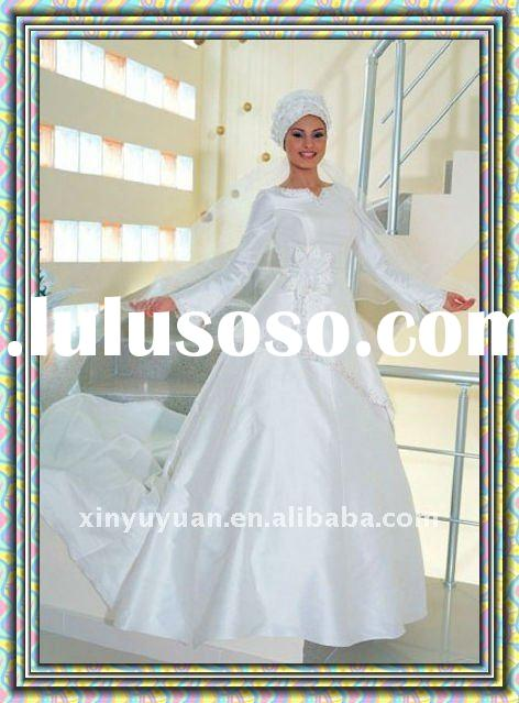 wholesale cheap a-line skirt satin with long trumpet sleeves arabic muslim wedding dress in chapel t