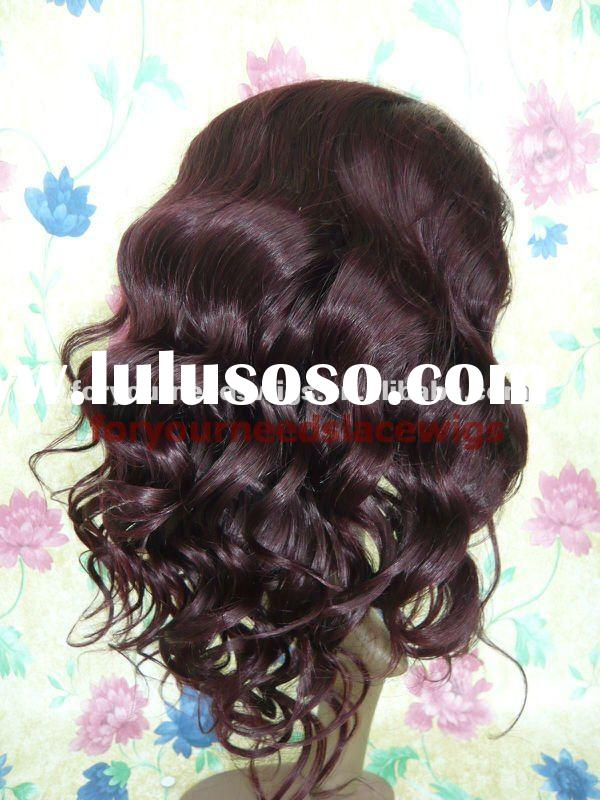 wholesale combodian human hair silk top lace front wigs with boby hair around color 99j