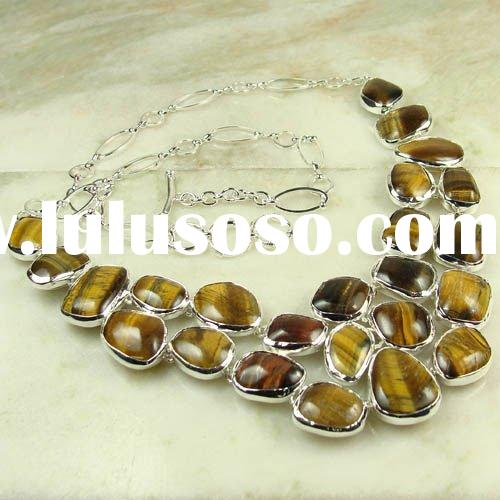wholesale vintage Jewelry gemstone necklace Tiger eye