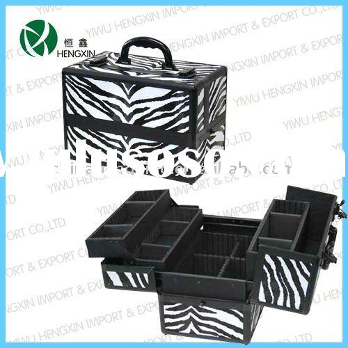 zebra stripe black aluminum make up train case make up station with eva compartmented drawers HX-LY0