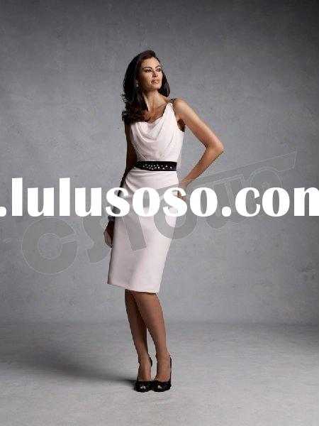 2011 White Silk Spaghetti Strap Knee Length Mother of the Bride Dress