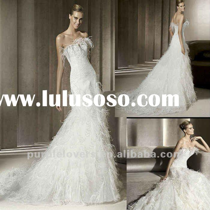 2012 Modern Fur Fan-shaped A-line wedding dresses