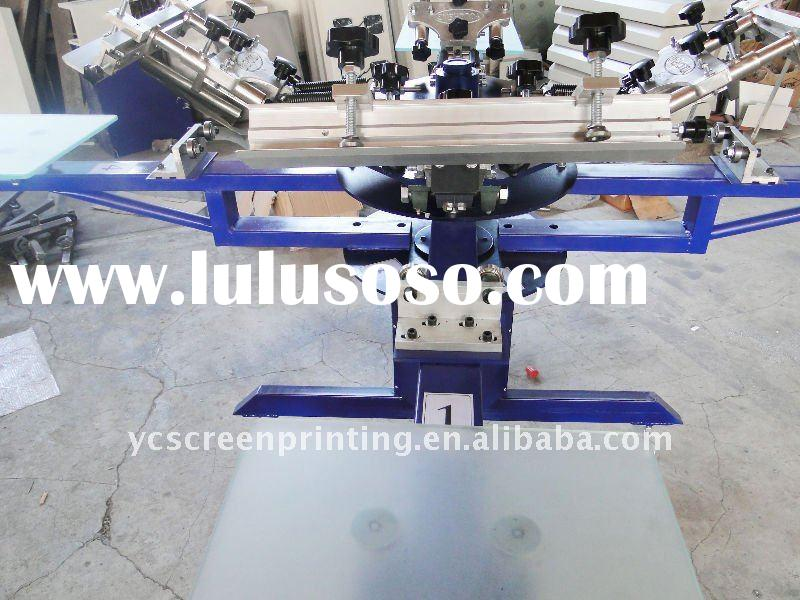 4-color Manual precise Textile Screen Printing Machine/Carousel screen printing machine