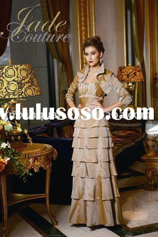 AM054 Strapless pleated cascade bodice cascade long sleeve wrap formal mother of the bride dresses 2