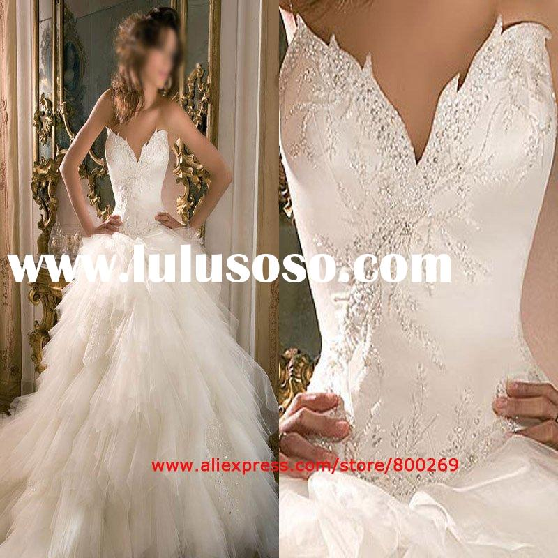 A-line Strapless Cheap Tulle Wedding Gown (Bridal Wedding Dress ) with Sweetheart Neckline Chapel Tr