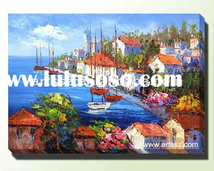 Beautiful Canvas Seaside Landscape Oil Painting