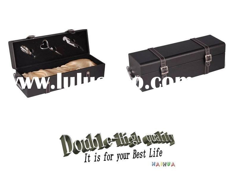 Black leather wine box for single bottle with wine accessories