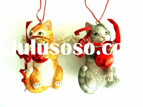 Christmas Decoration Xmas Ornament: Resin Cat w/Glass Ball