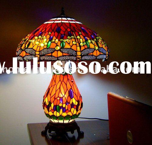 Dragonfly Tiffany Style Stained Glass Table/Desk Lamp,TFD-1725R