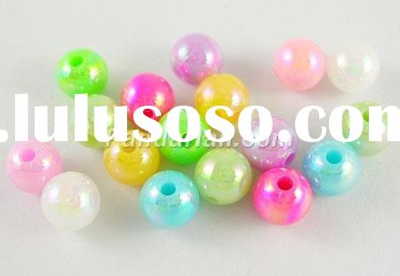 Mixed Color Acrylic Round Beads, Plated with AB Color, about 6mm in diameter, hole: 1mm, about 4950p