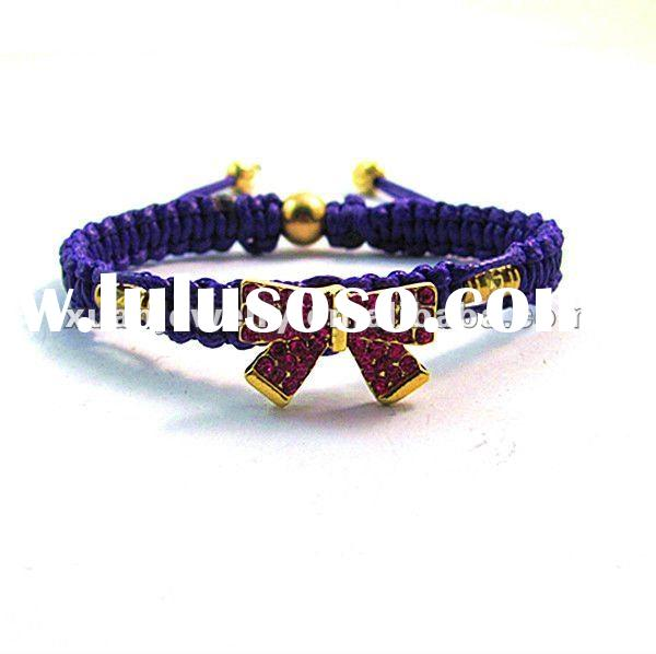 NEW!!! fashion custom design jewelry, hand made woven leather bracelet, waxed cord braided gold bow