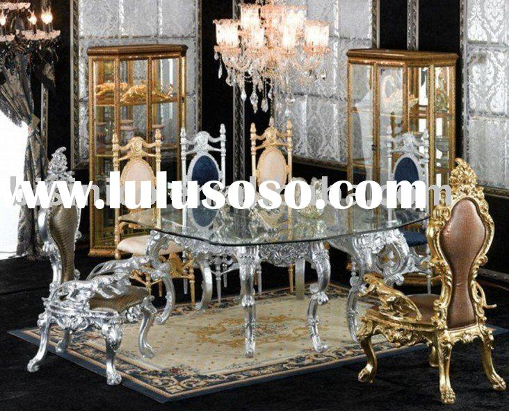 New antique hand carving luxury dining room furniture set,glass top round table,king chair,MOQ:1SET(