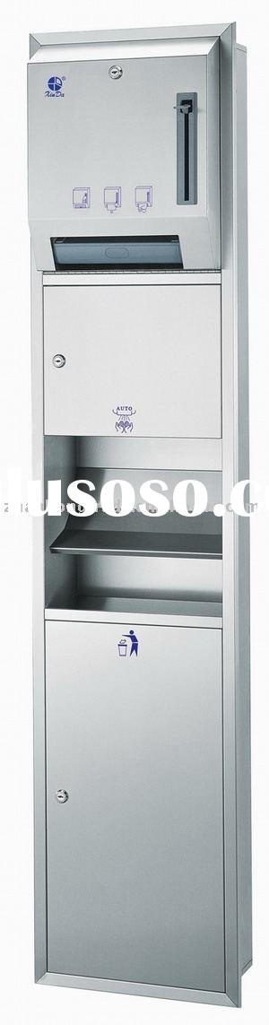 Recessed Roll paper towel dispenser,Hand dryer and Waste container