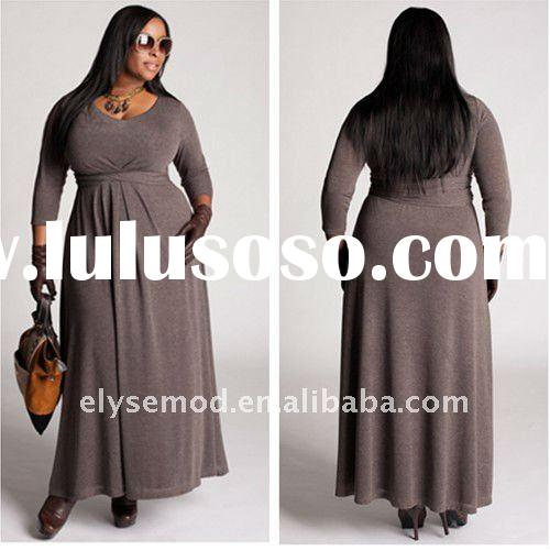Simple Design A-line Scoop Neck Grey Long Sleeves Plus Size Casual Dresses