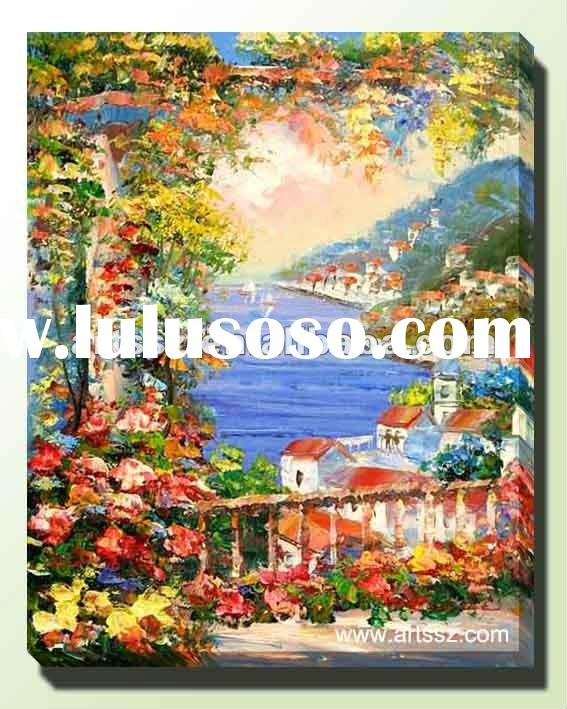 Wall Art/Mediterranean Seaside Landscape Oil Painting
