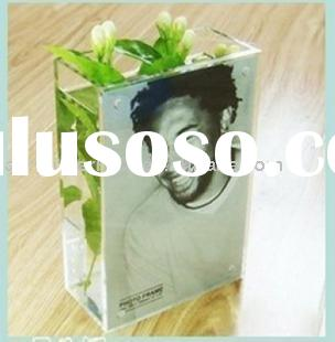 acrylic flower vase with photo frame