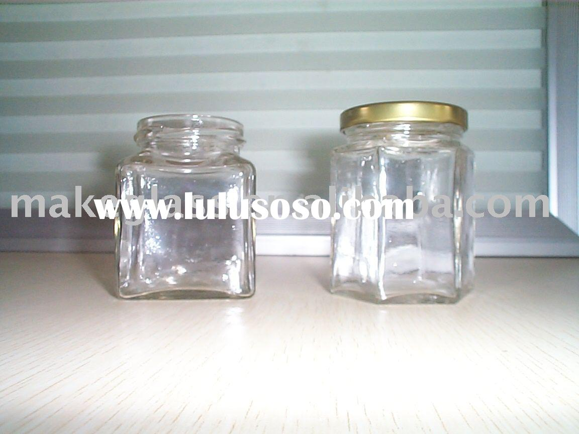 honey jar/glass jar with metal lid/glass storage/glassware