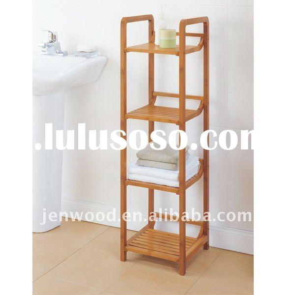hot selling bamboo 4 tiers storage rack bathroom shelf