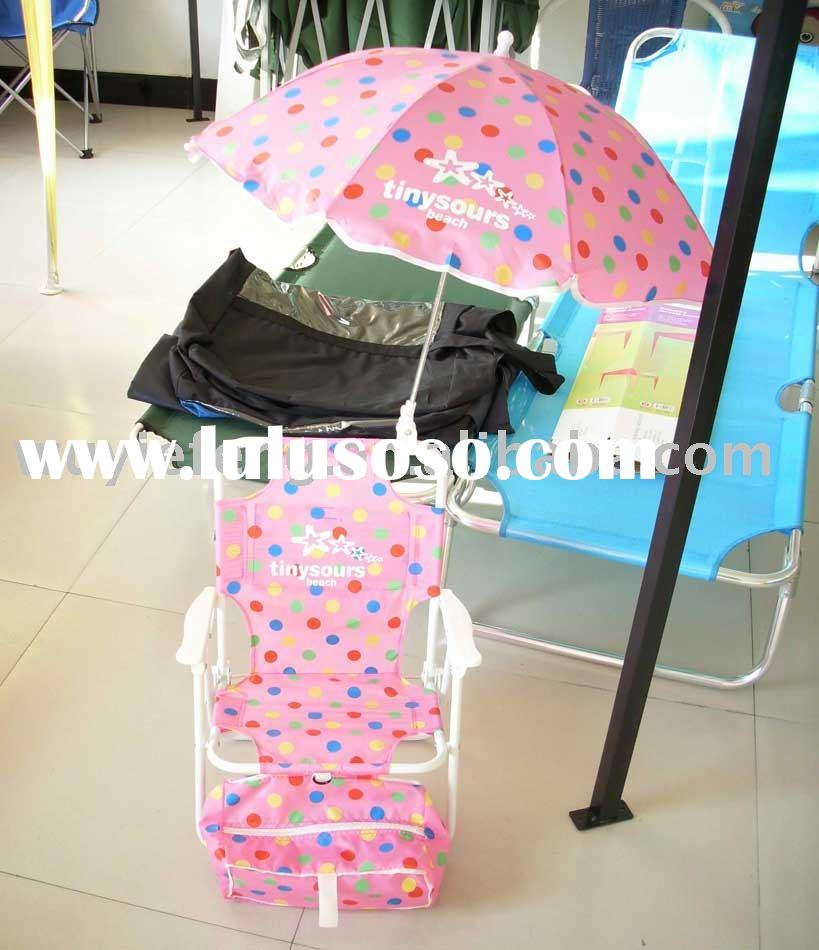 kids plastic chair with umbrella and coolbag