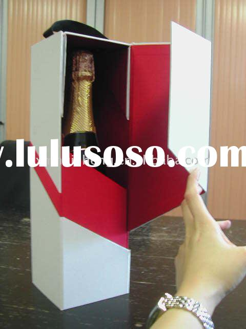 popular sell white-red cardboard wine box