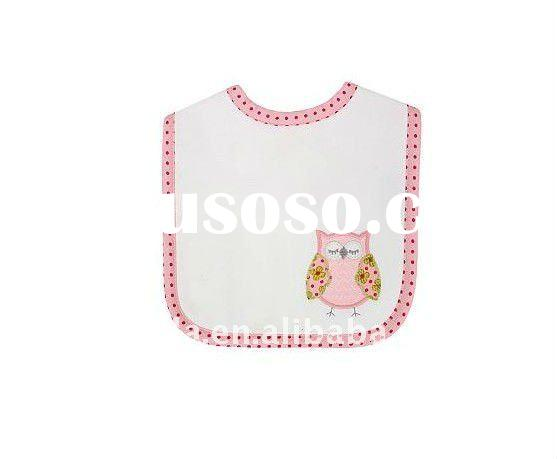 100 cotton terry with owl embroidery baby bib